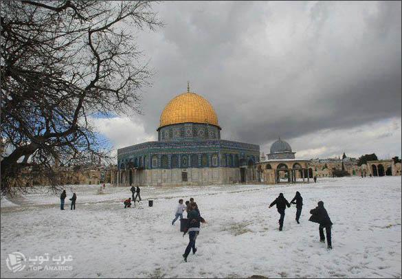 الثلوج في القدس والمسجد الاقصى