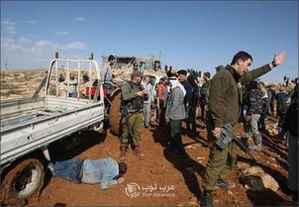 صور سيارة اسرائيلية تدهس فلسطيني