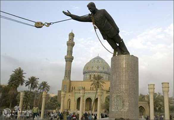 عرض مؤخرة تمثال لصدام حسين للبيع في مزاد بريطاني